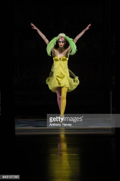 A model walks the runway at the David Ferreira show during the London Fashion Week February 2017 collections on February 20 2017 in London England