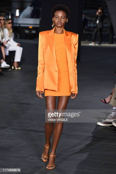 Model walks the runway at the David Koma Ready to Wear Spring/Summer 2020 fashion show during London Fashion Week September 2019 on September 15,...