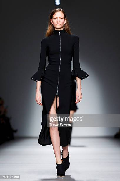 Model walks the runway at the David Koma show during London Fashion Week Fall/Winter 2015/16 at Somerset House on February 22, 2015 in London,...