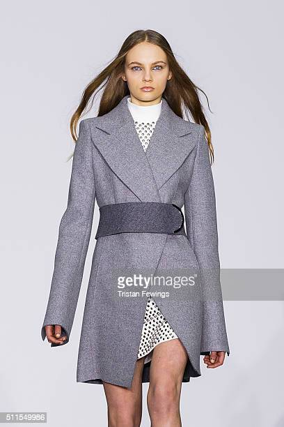 A model walks the runway at the David Koma show during London Fashion Week Autumn/Winter 2016/17 at Brewer Street Car Park on February 21 2016 in...