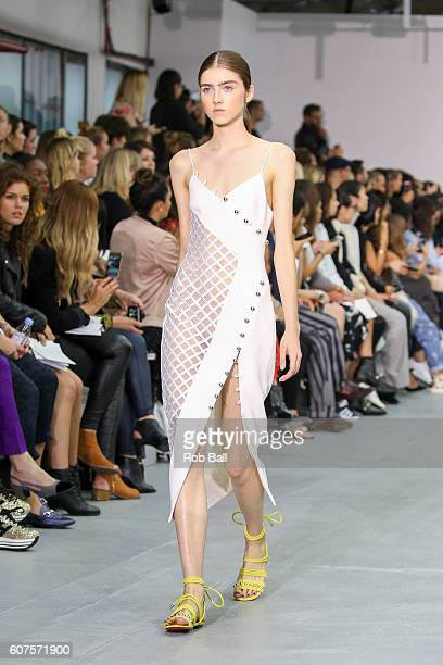 A model walks the runway at the David Koma show during London Fashion Week Spring/Summer collections 2016/2017 on September 18 2016 in London United...
