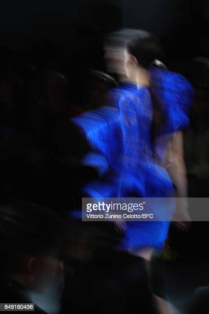 A model walks the runway at the David Koma show during London Fashion Week September 2017 on September 18 2017 in London England