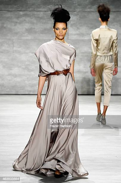 Model walks the runway at the David Tlale fashion show during Mercedes-Benz Fashion Week Fall 2015 at The Pavilion at Lincoln Center on February 15,...