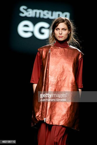 Model walks the runway at the DavidCatalan show during Madrid Fashion Week Fall/Winter 2015/16 at Ifema on February 11, 2015 in Madrid, Spain.].