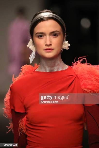 A model walks the runway at the Dawid Tomaszewski Defile during the Berlin Fashion Week Autumn/Winter 2019 on January 16 2019 in Berlin Germany