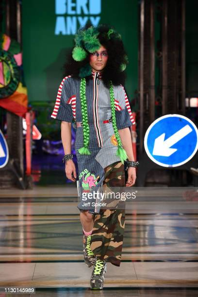A model walks the runway at the DB Berdan show during London Fashion Week February 2019 on February 16 2019 in London England