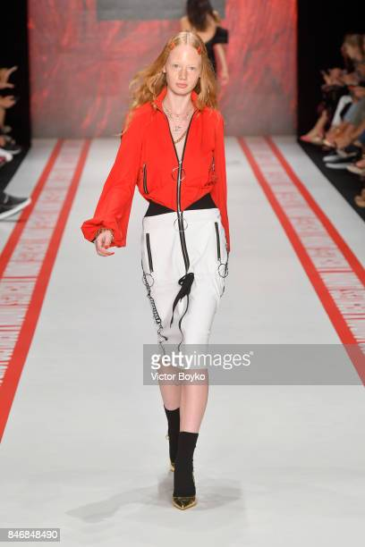 A model walks the runway at the DB Berdan show during MercedesBenz Istanbul Fashion Week September 2017 at Zorlu Center on September 14 2017 in...