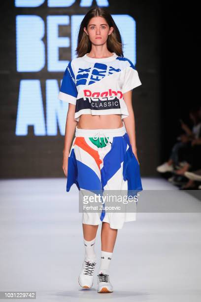 A model walks the runway at the DB Berdan show during the MercedesBenz Istanbul Fashion Week at Zorlu Performance Hall on September 11 2018 in...