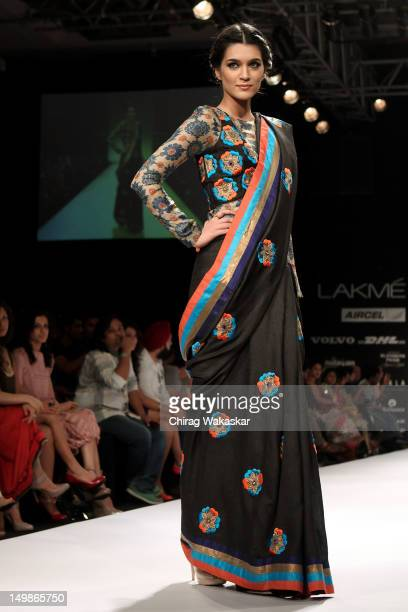 A model walks the runway at the Debarun Mukherjee show at The Lakme Fashion Week Winter/Festive 2012 day 3 at the Grand Hyatt on August 5 2012 in...