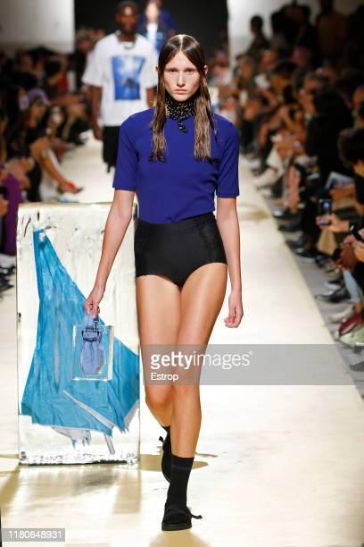 A model walks the runway at the DecenioAlexandraMoura fashion show during Lisboa Fashion Week 'ModaLisboa' S/S 2020 on October 12 2019 in Lisboa...