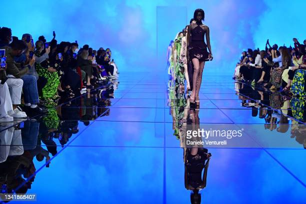 Model walks the runway at the Del Core fashion show during the Milan Fashion Week - Spring / Summer 2022 on September 22, 2021 in Milan, Italy.