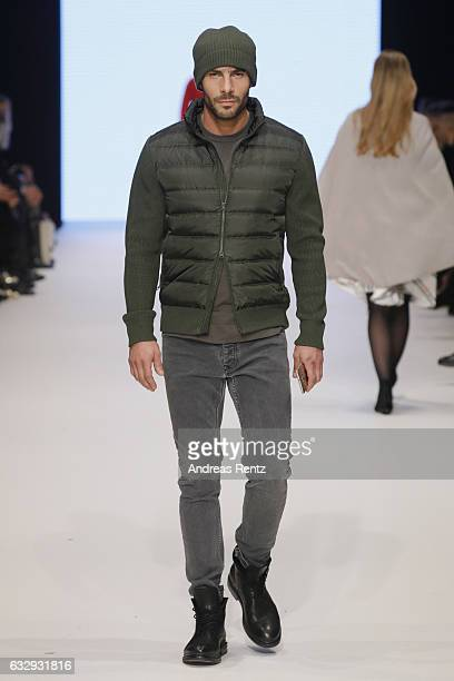 A model walks the runway at the Delicatelove PF Selected show during Platform Fashion January 2017 at Areal Boehler on January 28 2017 in Duesseldorf...