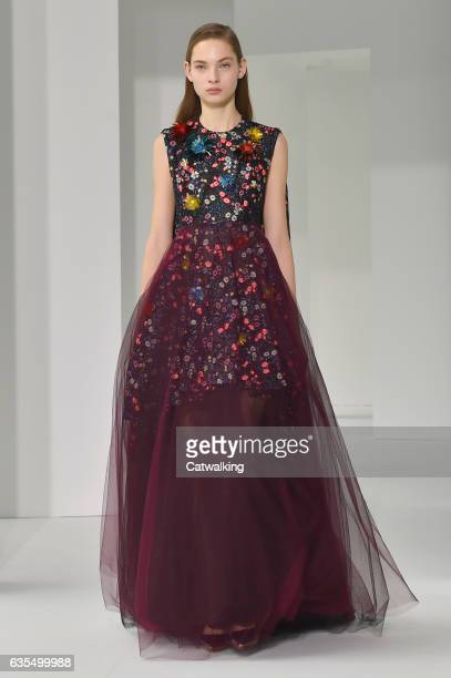 Model walks the runway at the Delpozo Autumn Winter 2017 fashion show during New York Fashion Week on February 15, 2017 in New York, United States.