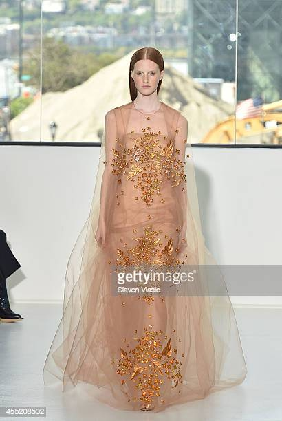Model walks the runway at the Delpozo fashion show during Mercedes-Benz Fashion Week Spring 2015 at Location 05 Studios on September 10, 2014 in New...