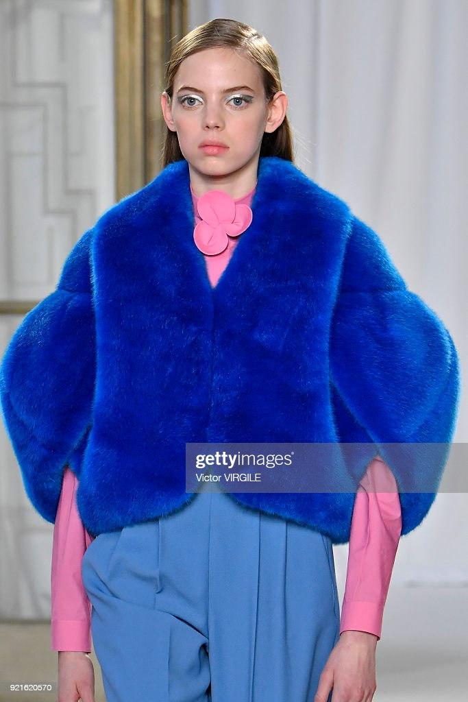 A model walks the runway at the Delpozo Ready to Wear Fall/Winter 2018-2019 fashion show during London Fashion Week February 2018 on February 18, 2018 in London, England.