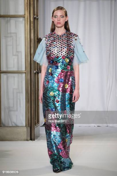 A model walks the runway at the Delpozo show during London Fashion Week February 2018 at RIBA on February 18 2018 in London England