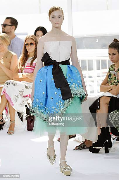 Model walks the runway at the Delpozo Spring Summer 2016 fashion show during New York Fashion Week on September 16, 2015 in New York, United States.