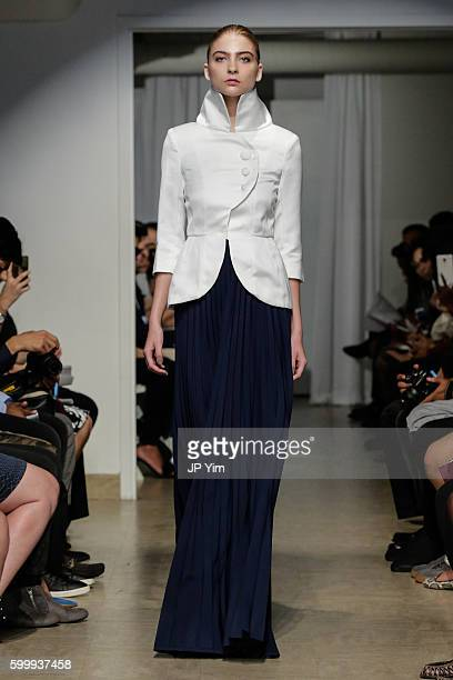 A model walks the runway at the Denibi Barcelona Utopia Collection 2017 at Punto Space on September 7 2016 in New York City