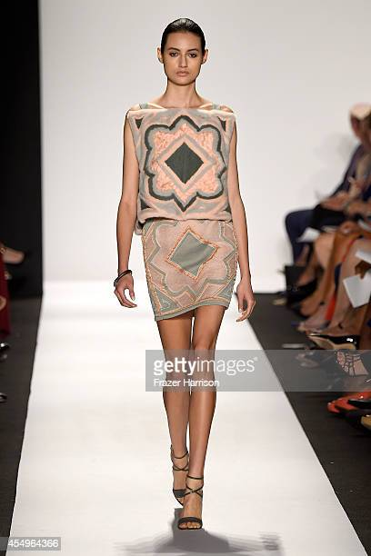 A model walks the runway at the Dennis Basso fashion show during MercedesBenz Fashion Week Spring 2015 at The Theatre at Lincoln Center on September...