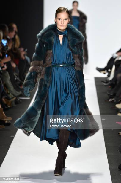 Model walks the runway at the Dennis Basso fashion show during Mercedes-Benz Fashion Week Fall 2014 at Lincoln Center on February 10, 2014 in New...