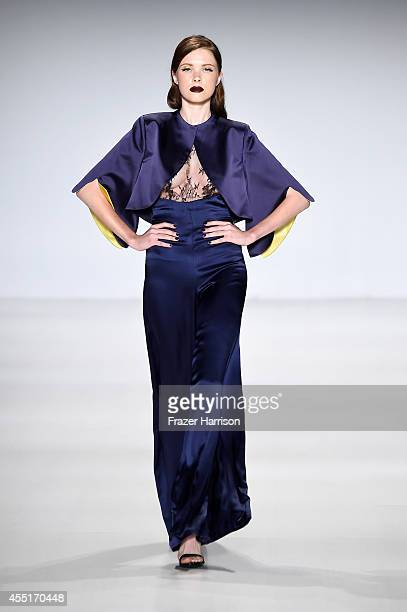 A model walks the runway at the Deola Sagoe fashion show during MercedesBenz Fashion Week Spring 2015 at The Salon at Lincoln Center on September 10...