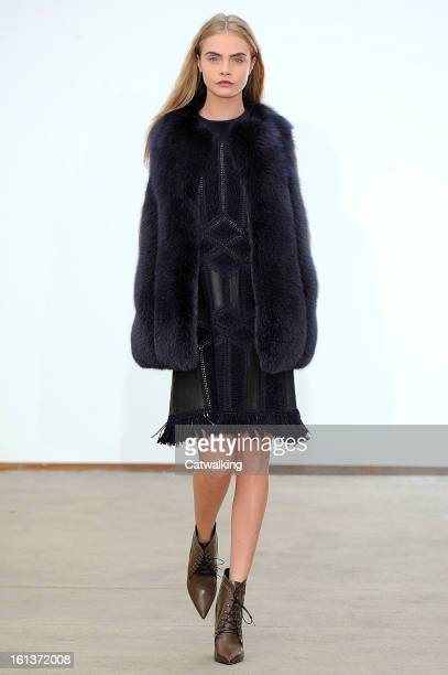 Model walks the runway at the Derek Lam Autumn Winter 2013 fashion show during New York Fashion Week on February 10, 2013 in New York, United States.