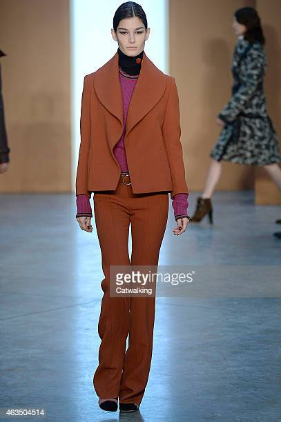 A model walks the runway at the Derek Lam Autumn Winter 2015 fashion show during New York Fashion Week on February 15 2015 in New York United States