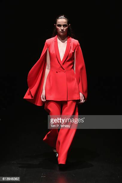 A model walks the runway at the Derya Acikgoz show during MercedesBenz Fashion Week Istanbul at Zorlu Center on October 11 2016 in Istanbul Turkey