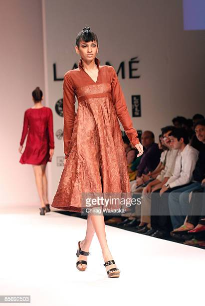 A model walks the runway at the Design Toor show at Lakme India Fashion Week Autumn/Winter 2009 at Grand Hyatt on March 29 2009 in Bombay India