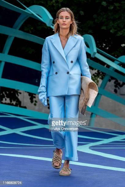 Model walks the runway at the Designers Remix show during the Copenhagen Fashion Week Spring/Summer 2020 on August 08, 2019 in Copenhagen, Denmark.