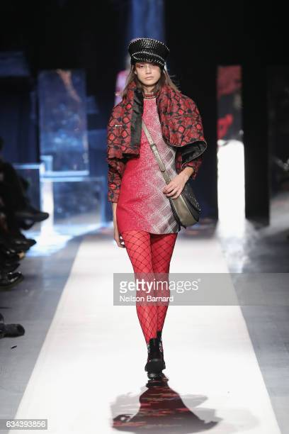 A model walks the runway at the Desigual show New York Fashion Week The Shows at Gallery 1 Skylight Clarkson Sq on February 9 2017 in New York City