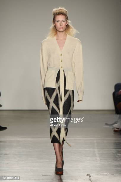 A model walks the runway at the Detacher fashion show during New York Fashion Week on February 11 2017 in New York City