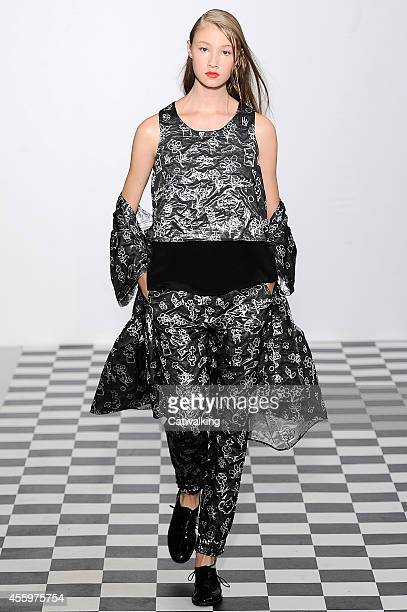 A model walks the runway at the Devastee Spring Summer 2015 fashion show during Paris Fashion Week on September 23 2014 in Paris France