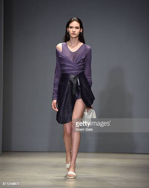Model walks the runway at the DexterDexterDexter fashion show during Fall 2016 New York Fashion Week on February 18, 2016 in New York City.