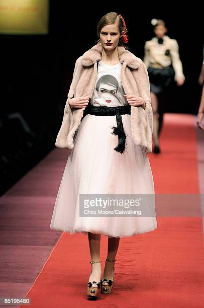 A model walks the runway at the DG Fall/Winter 20092010 readytowear collection during Milan Fashion Week on February 27 2009 in Milan Italy