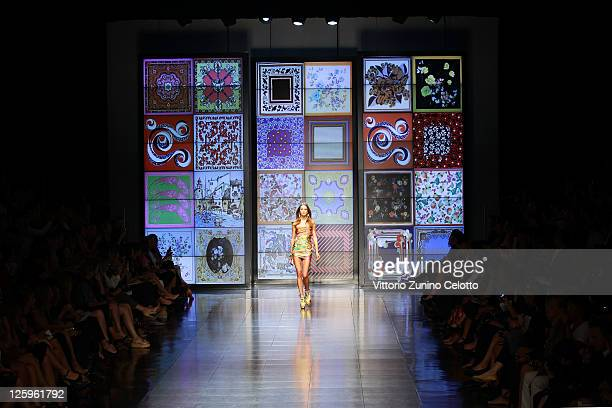 Model walks the runway at the D&G Spring/Summer 2012 fashion show as part Milan Womenswear Fashion Week on September 22, 2011 in Milan, Italy.