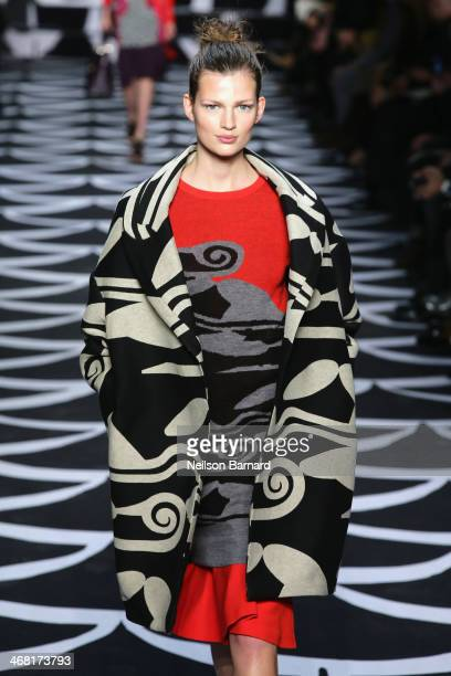 A model walks the runway at the Diane Von Furstenberg fashion show during MercedesBenz Fashion Week Fall 2014 at Spring Studios on February 9 2014 in...