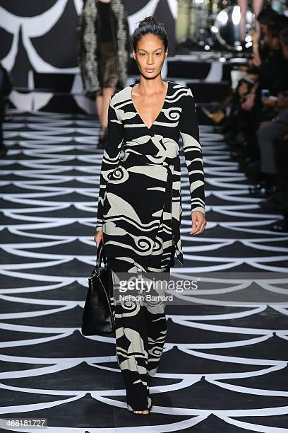 Model walks the runway at the Diane Von Furstenberg fashion show during Mercedes-Benz Fashion Week Fall 2014 at Lincoln Center on February 9, 2014 in...
