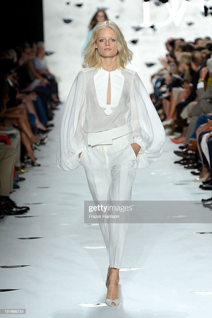 A model walks the runway at the Diane Von Furstenberg Spring 2013 fashion show during Mercedes-Benz Fashion Week at The Theatre at Lincoln Center on September 9, 2012 in New York City.