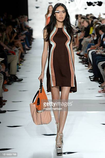 A model walks the runway at the Diane Von Furstenberg Spring 2013 fashion show during MercedesBenz Fashion Week at The Theatre at Lincoln Center on...