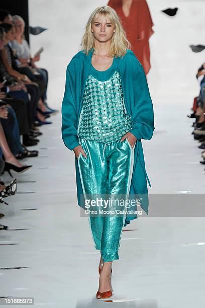 A model walks the runway at the Diane Von Furstenberg Spring Summer 2013 fashion show during New York Fashion Week on September 9 2012 in New York...