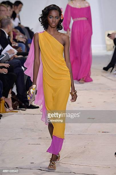 A model walks the runway at the Diane von Furstenberg Spring Summer 2016 fashion show during New York Fashion Week on September 13 2015 in New York...