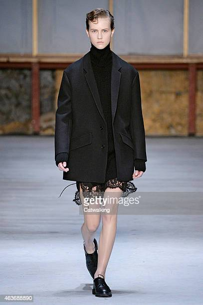 A model walks the runway at the Diesel Black Gold Autumn Winter 2015 fashion show during New York Fashion Week on February 17 2015 in New York United...