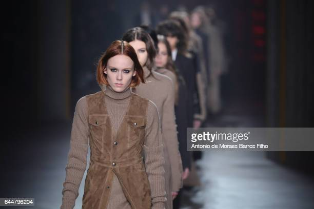 A model walks the runway at the Diesel Black Gold show during Milan Fashion Week Fall/Winter 2017/18 on February 24 2017 in Milan Italy