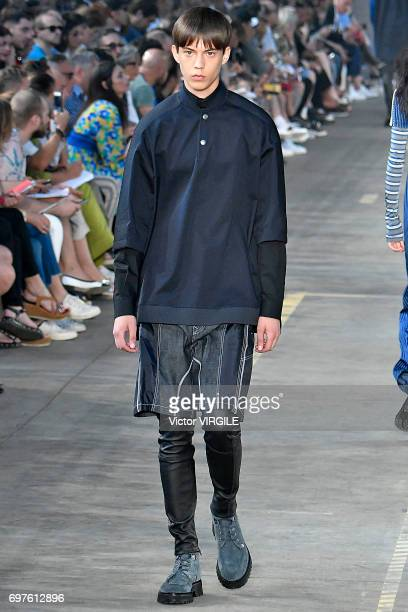 A model walks the runway at the Diesel Black Gold show during Milan Men's Fashion Week Spring/Summer 2018 on June 17 2017 in Milan Italy