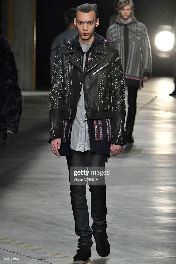 A model walks the runway at the Diesel Black Gold show during Milan Men's Fashion Week Fall/Winter 2018/19 on January 13, 2018 in Milan, Italy.