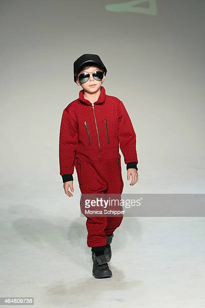 A model walks the runway at the Dillonger show during petitePARADE / Kids Fashion Week at Bathhouse Studios on February 28 2015 in New York City
