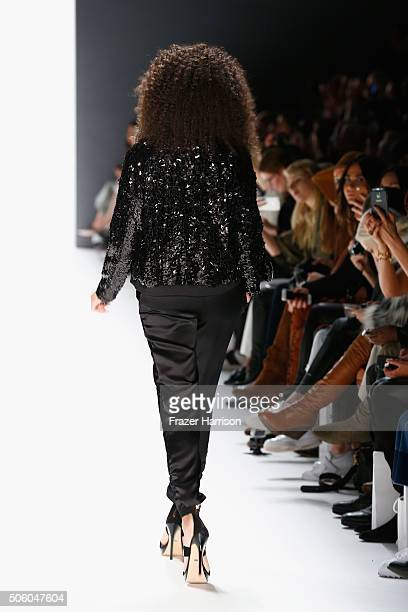 A model walks the runway at the Dimitri show during the MercedesBenz Fashion Week Berlin Autumn/Winter 2016 at Brandenburg Gate on January 21 2016 in...