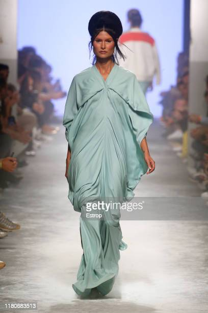 Model walks the runway at the Dino Alves fashion show during Lisboa Fashion Week 'ModaLisboa' S/S 2020 on October 12 2019 in Lisboa, Portugal.