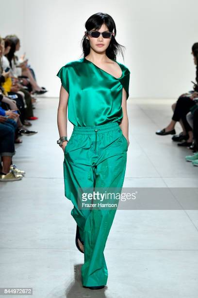A model walks the runway at the Dion Lee fashion show during New York Fashion Week The Shows at Gallery 2 Skylight Clarkson Sq on September 9 2017 in...